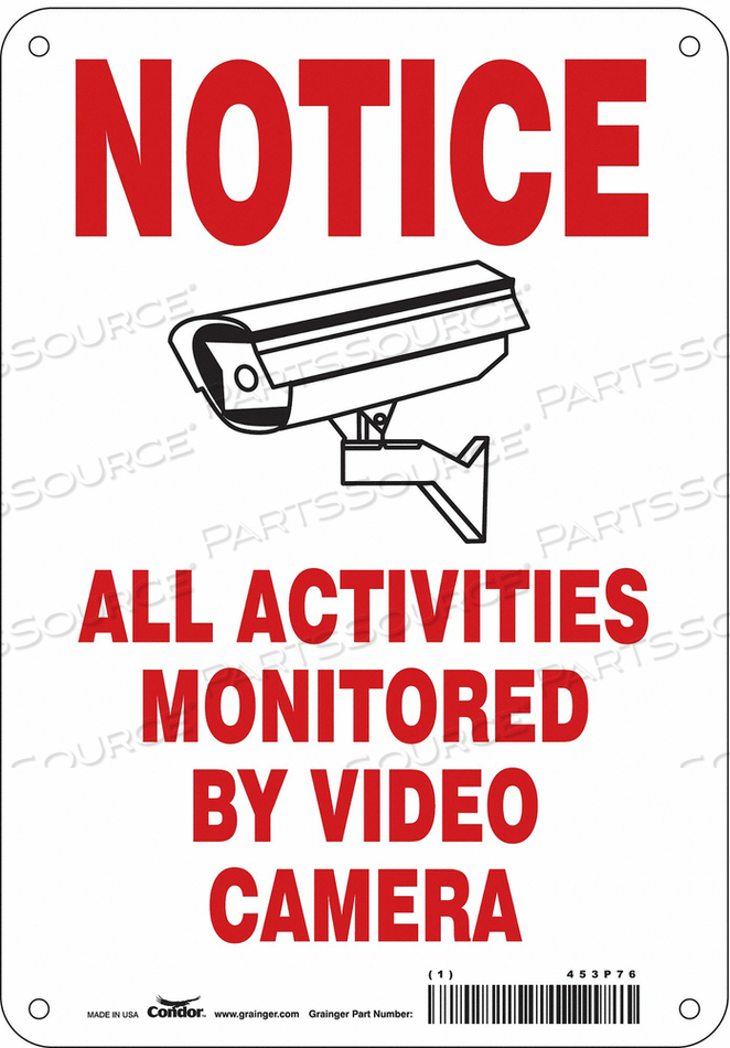 SECURITY SIGN 10 H 7 W PLASTIC by Condor