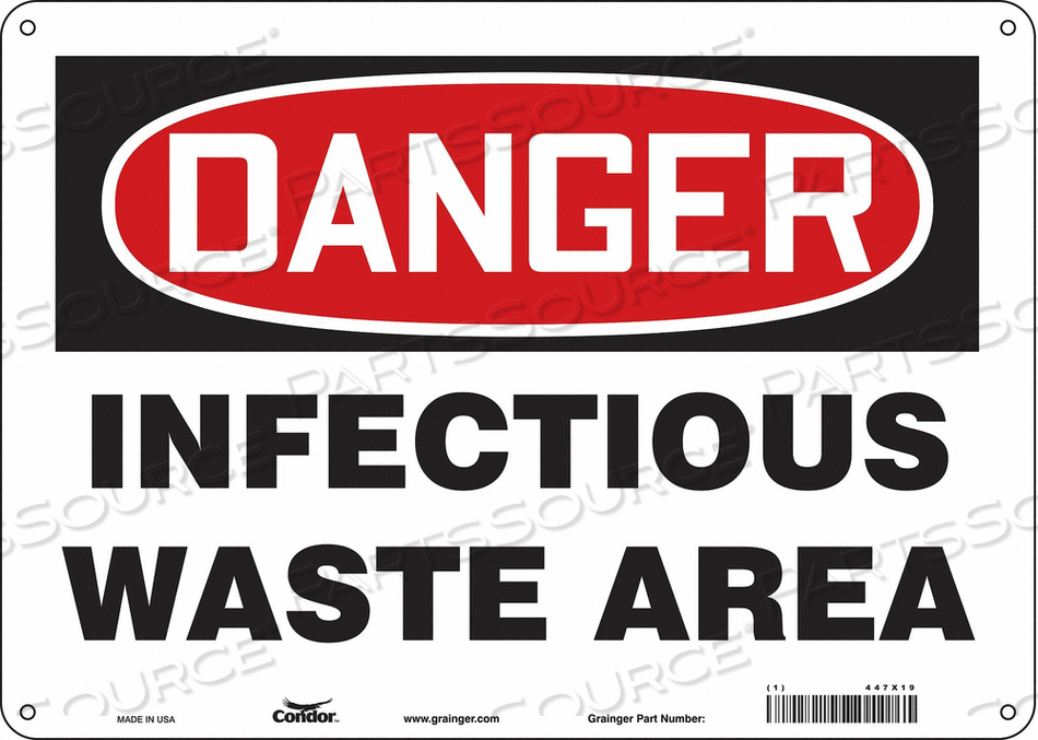 BIOHAZARD SIGN 14 W 10 H 0.032 THICK by Condor