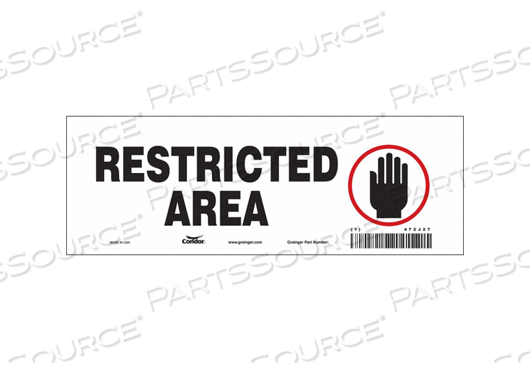 SAFETY SIGN 10 W 3 H 0.004 THICKNESS by Condor