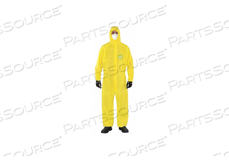 J4514 HOODED COVERALL ELASTIC YELLOW 4XL PK25 by Ansell Healthcare