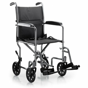 LIGHTWEIGHT TRANSPORT CHAIR, BLACK WITH SILVER VEIN FINISH by McKesson