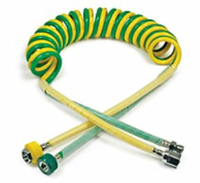 SINGLE COILED NON CONDUCTIVE HOSE, 1/4 IN OD, HIGH-GRADE POLYURETHANE, OXYGEN, GREEN, DISS HEX NUT/HAND TIGHT CONNECTION, MEETS NFPA 99, 15 FT by Medical Fittings (Precision Medical)