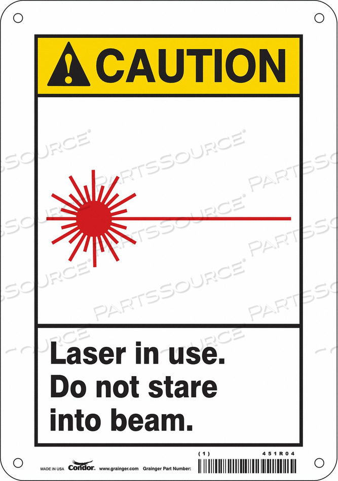 LASER WARNING 7 W 10 H 0.032 THICK by Condor