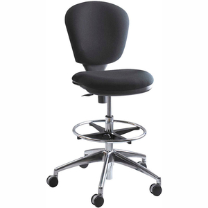 METROPOLITAN EXTENDED HEIGHT DRAFTING STOOL CHAIR - FABRIC - BLACK by Safco