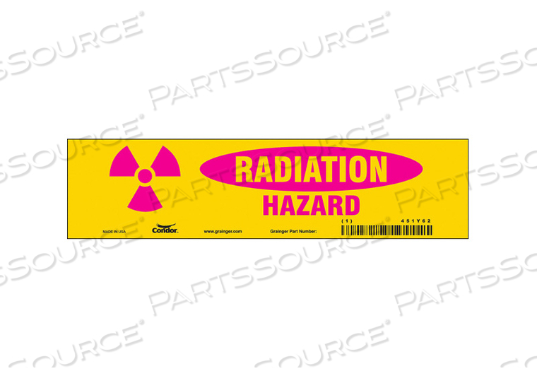 RADIATION SAFETY SIGN VINYL 2-1/4 H by Condor