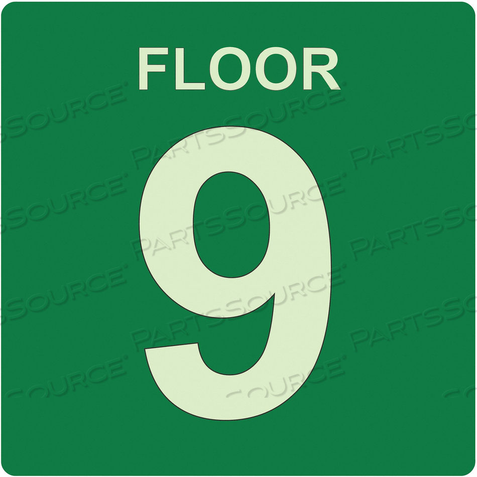 SIGN FLOOR 9 GREEN ENGLISH PVC by Ability One