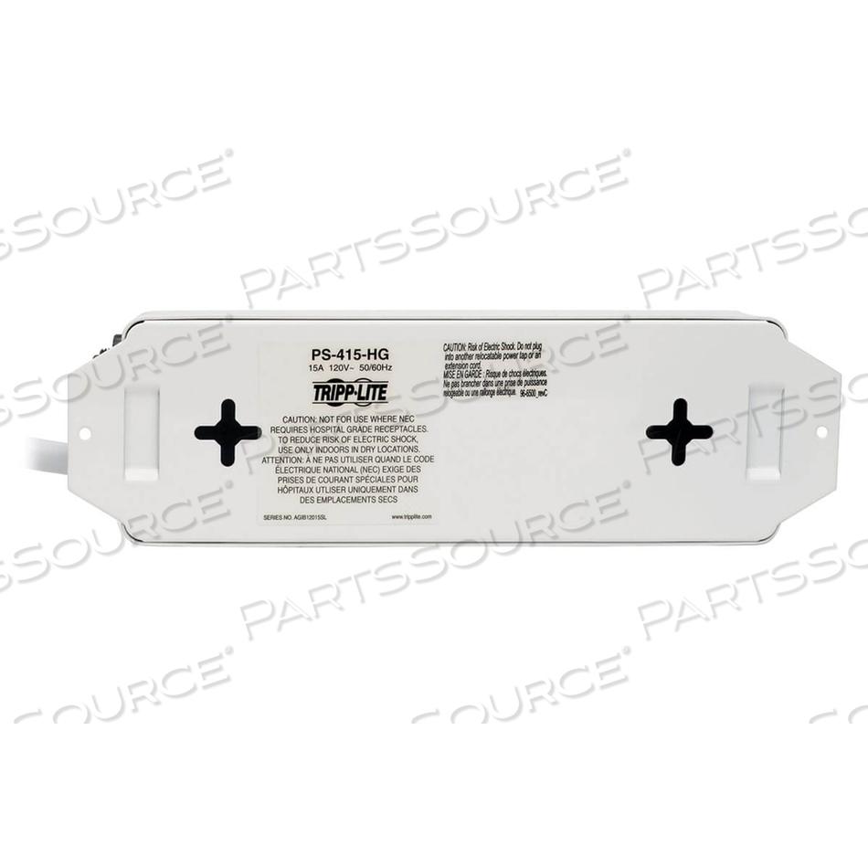 POWER STRIP MEDICAL 120V 5-15R-HG 4 OUTLET 15FT CORD METAL by Tripp Lite
