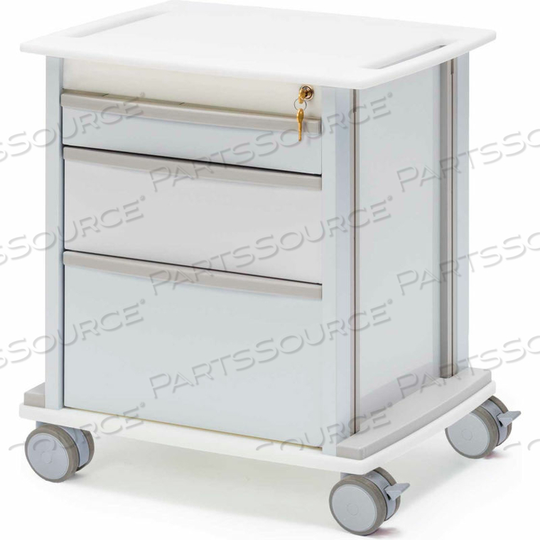 OMNI UNDER-COUNTER STORAGE CART WITH 3 DRAWERS AND KEY LOCK, WHITE by Omnimed, Inc.