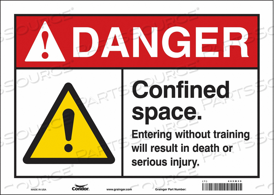 SAFETY SIGN 10 H 14 W VINYL by Condor