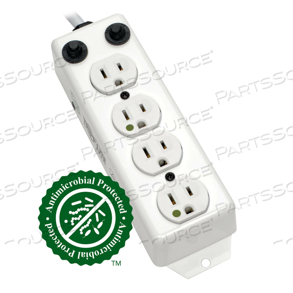 POWER STRIP MEDICAL 120V 5-15R-HG 4 OUTLET UL 1363A 2FT CORD by Tripp Lite
