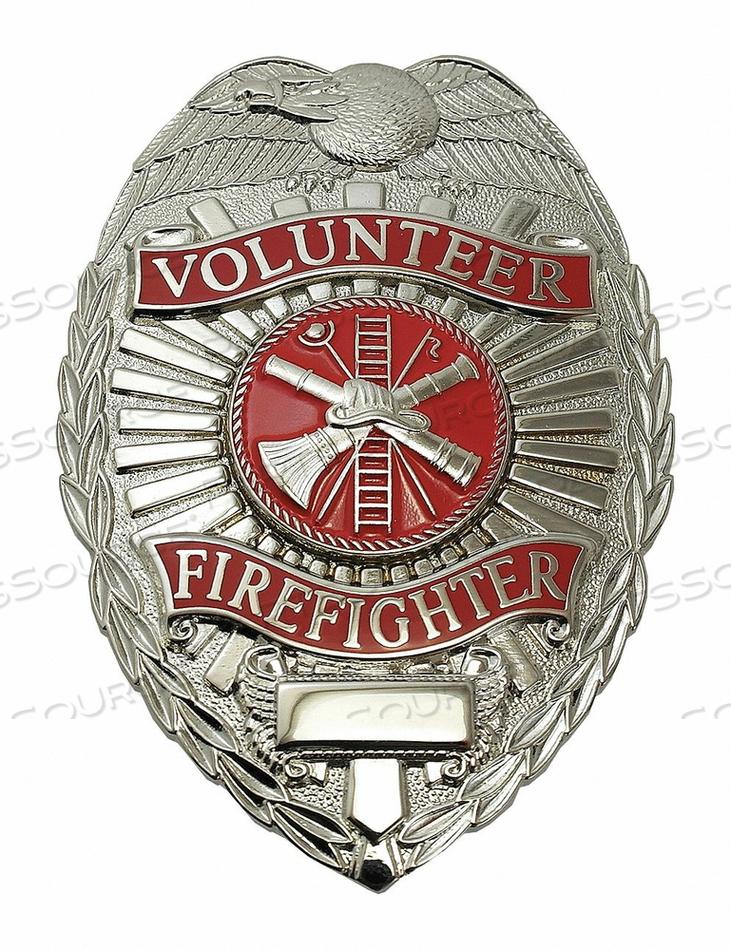 METAL BADGE VOLUNTEER FIREFIGHTER - OVAL by Heros Pride