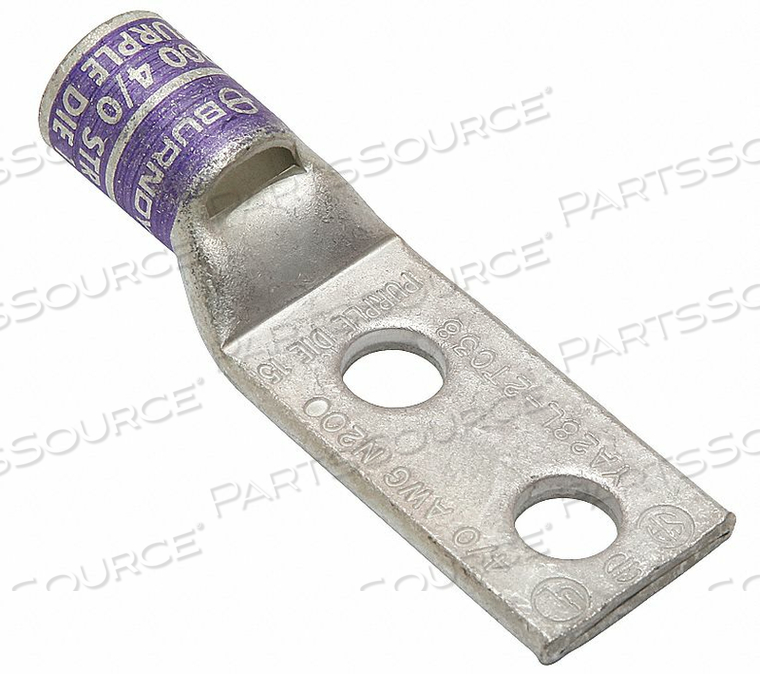 TWO HOLE LUG COMPRESS CONNECTOR 4/0 AWG by Burndy