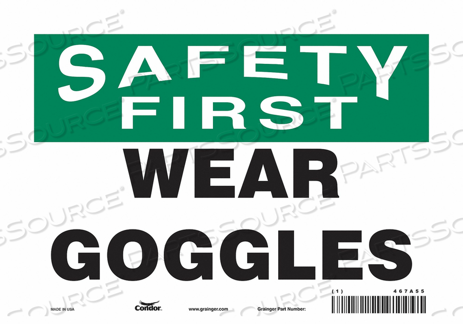 J7029 SAFETY SIGN 10 W 7 H 0.004 THICKNESS by Condor