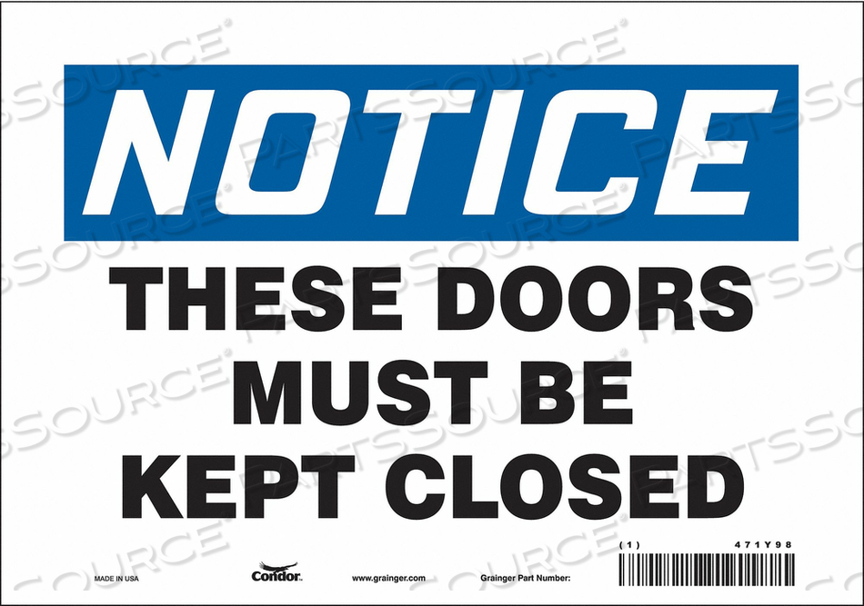 SAFETY SIGN 10 W X 7 H 0.004 THICK by Condor