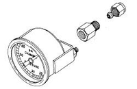 PRESSURE GAUGE, 1/4 IN MPT, 2 IN DIAL DIA, 0 TO 60 PSI, CENTER BACK, STAINLESS STEEL CASE AND BEZEL, GLASS LENS by Pelton & Crane
