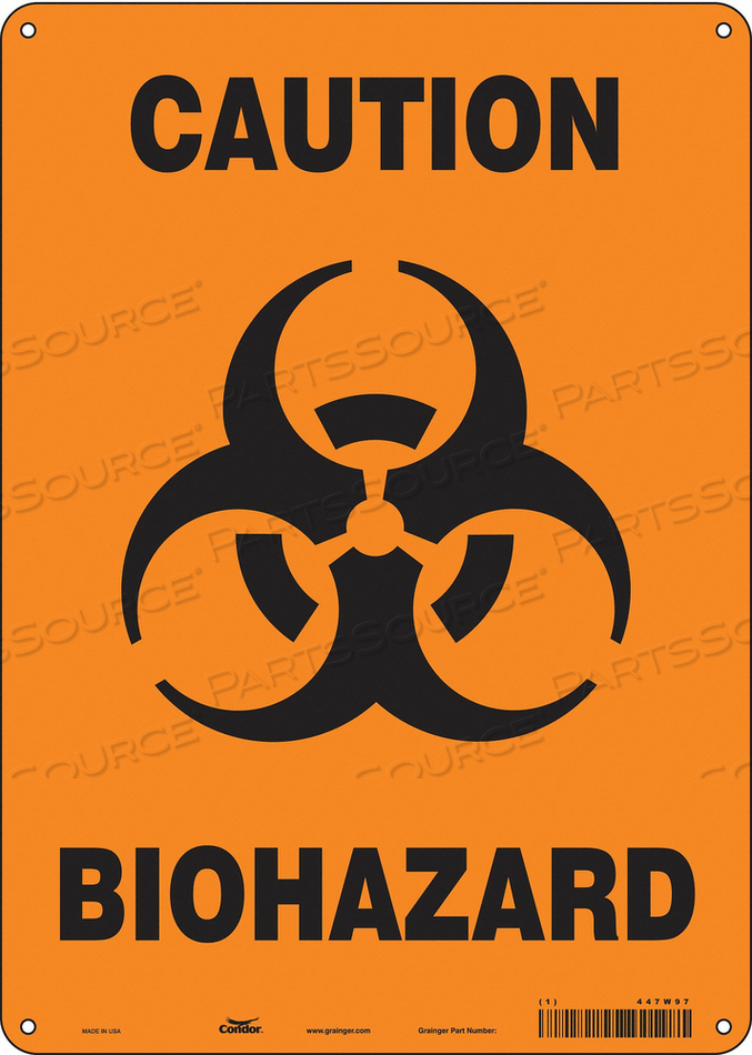BIOHAZARD SIGN 10 W 14 H 0.032 THICK by Condor