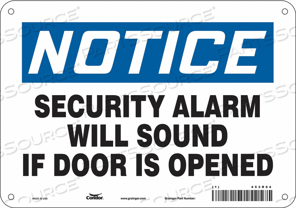 SECURITY SIGN 7 H 10 W PLASTIC by Condor