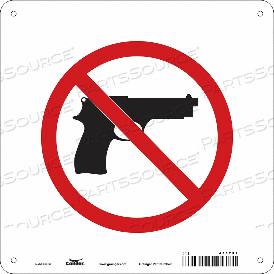 NO CONCEALED WEAPONS SIGN 10 W 10 H by Condor