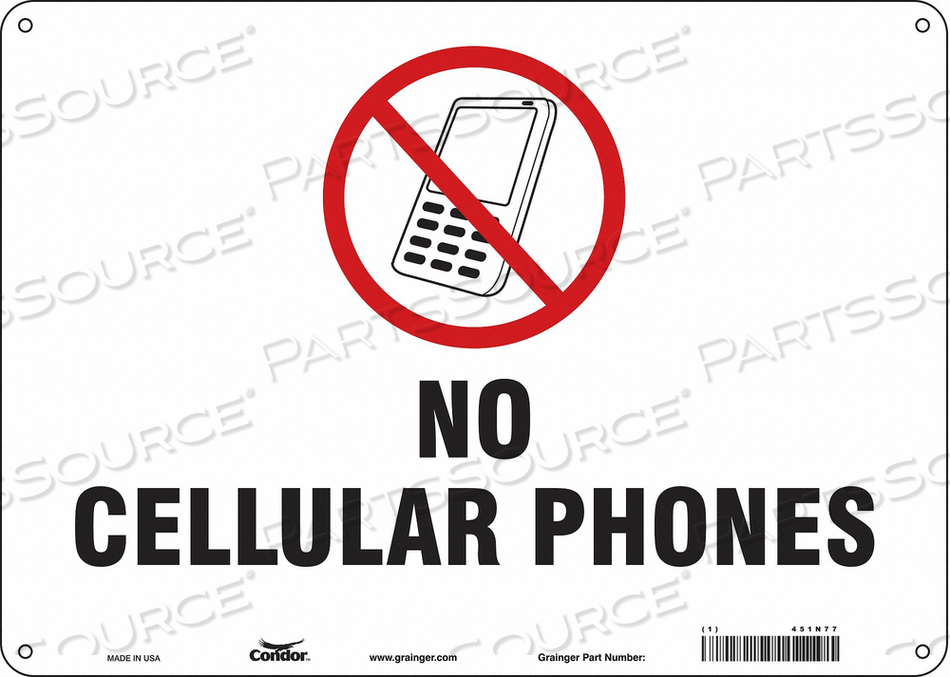 SIGN CELL PHONE 14 W 10 H 0.055 THICK by Condor