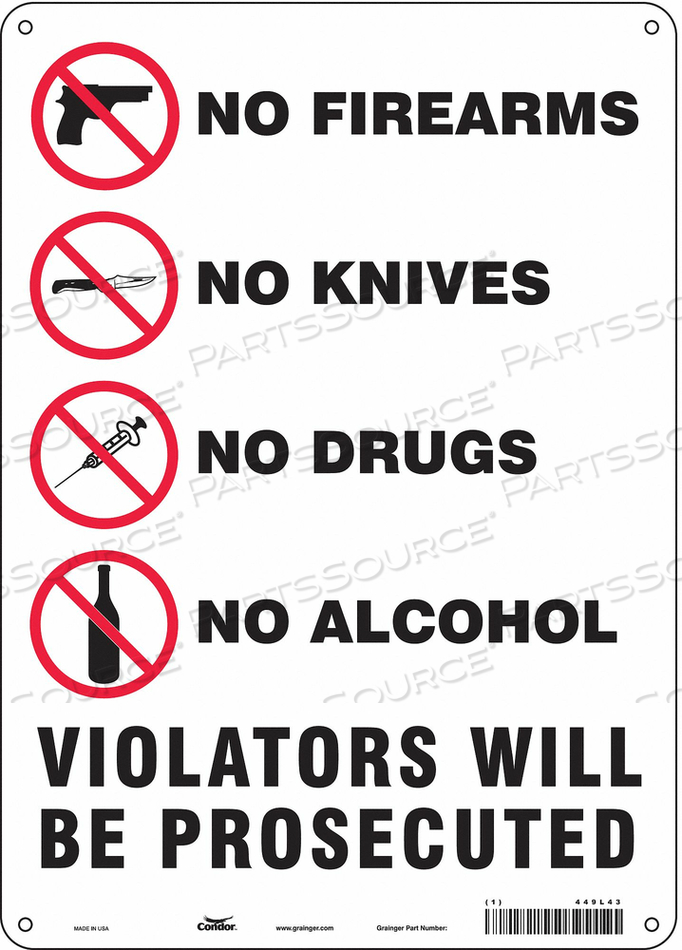 SAFETY SIGN 14 H X 10 W 0.055 THICK by Condor