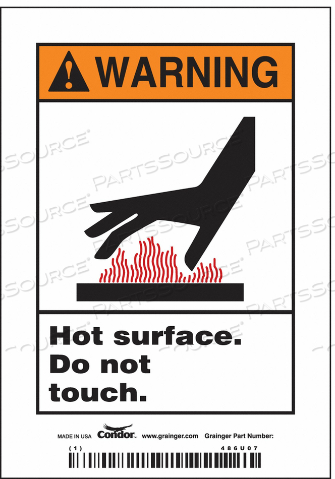SAFETY SIGN 3-1/2 W 5 H 0.020 THICK PK5 by Condor
