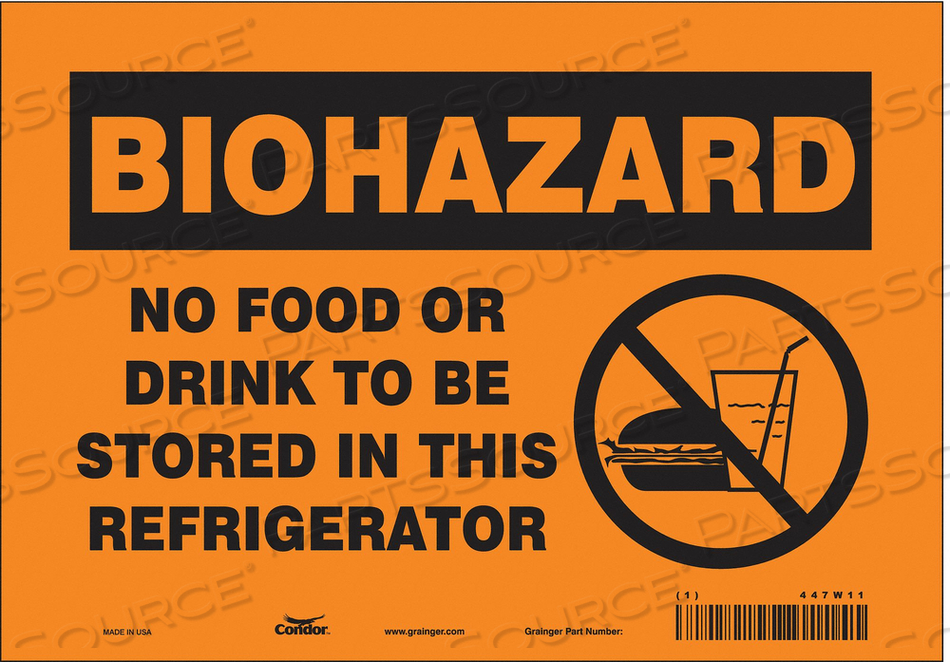 BIOHAZARD SIGN 10 W 7 H 0.004 THICK by Condor