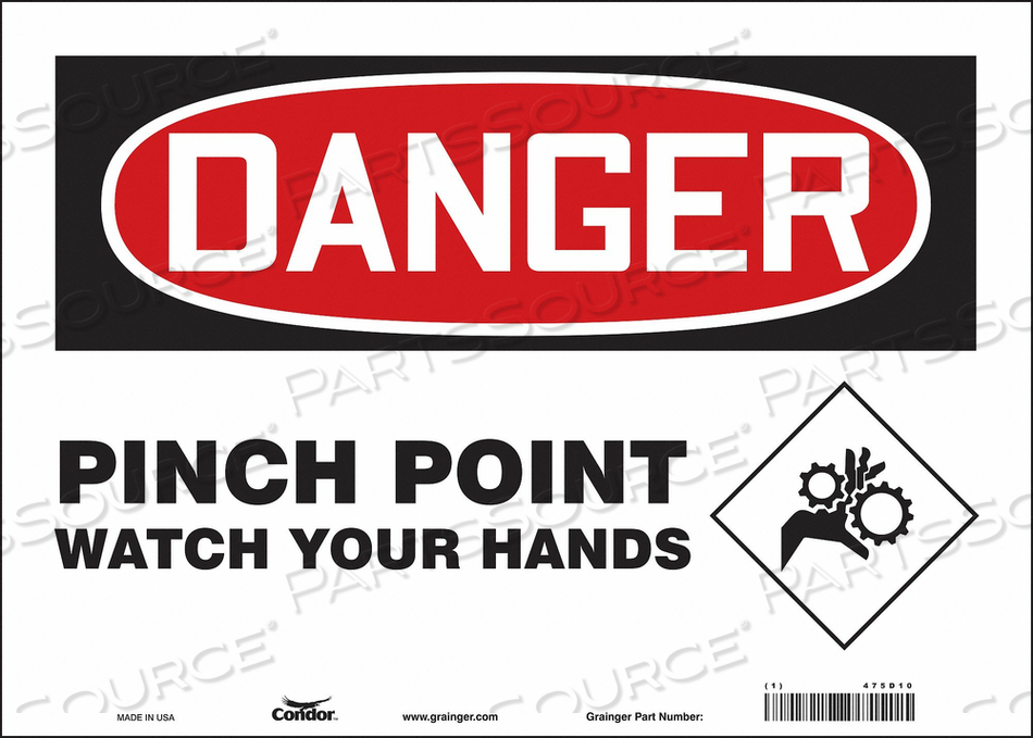 J6942 SAFETY SIGN 14 W 10 H 0.004 THICKNESS by Condor
