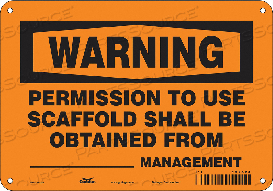 CONSTRUCTION SIGN 10 W 7 H 0.055 THICK by Condor