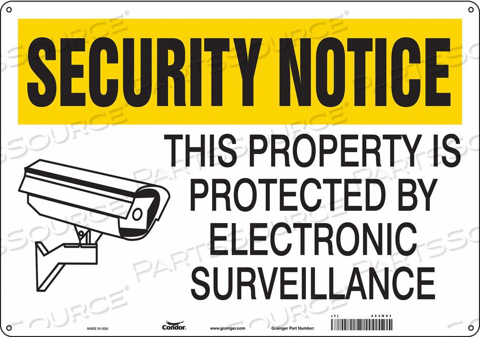 J7030 SECURITY SIGN 14 H 20 W ALUMINUM by Condor