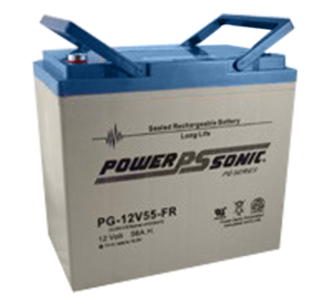 BATTERY, SEALED LEAD ACID, 12V, 55 AH, THREADED POST by Power Sonic