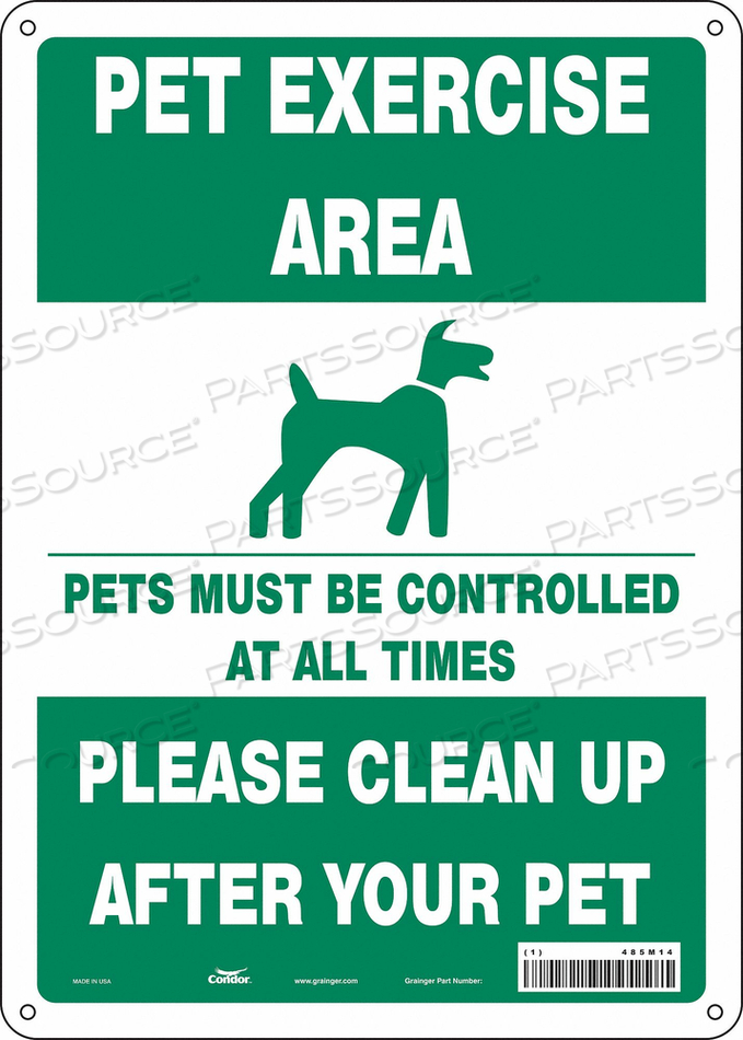 SAFETY SIGN 10 WX14 H 0.055 THICK by Condor