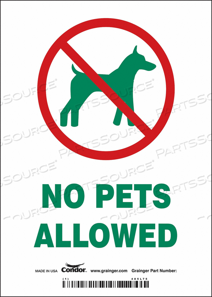 SAFETY SIGN 5 WX7 H 0.004 THICK by Condor
