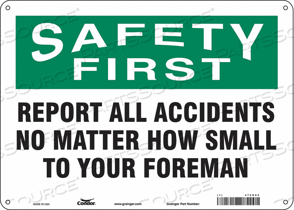 J7028 SAFETY SIGN 14 W 10 H 0.055 THICKNESS by Condor