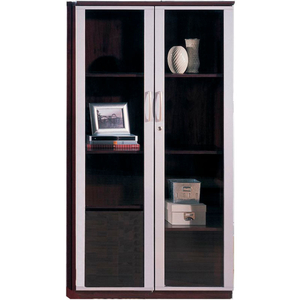 """CORSICA SERIES 68"""" WALL CABINET WITH GLASS DOORS MAHOGANY by Safco"""
