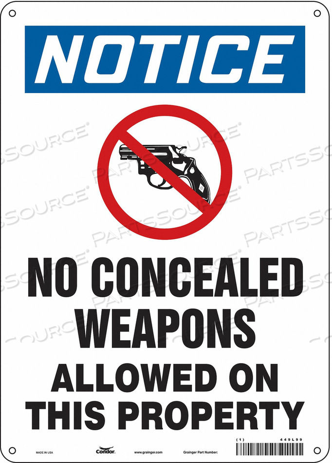SAFETY SIGN 14 H X 10 W 0.032 THICK by Condor