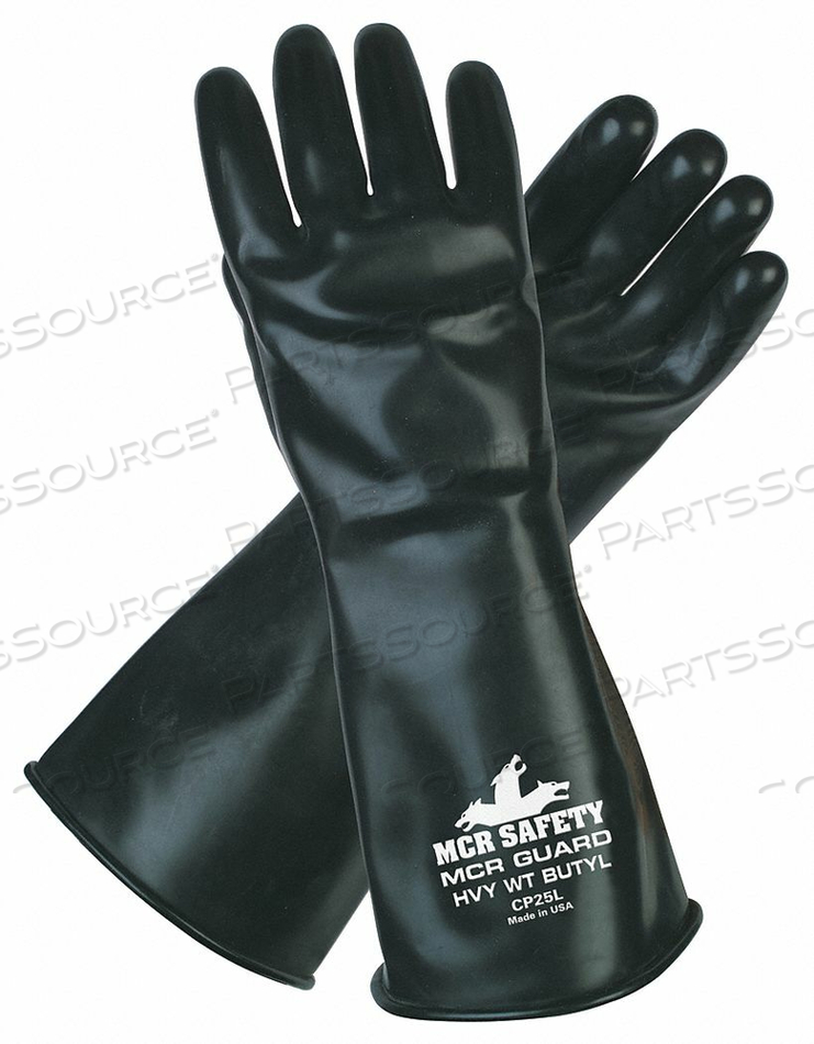 CHEMICAL GLOVES L 14 IN L BLK BUTYL PR by MCR Safety