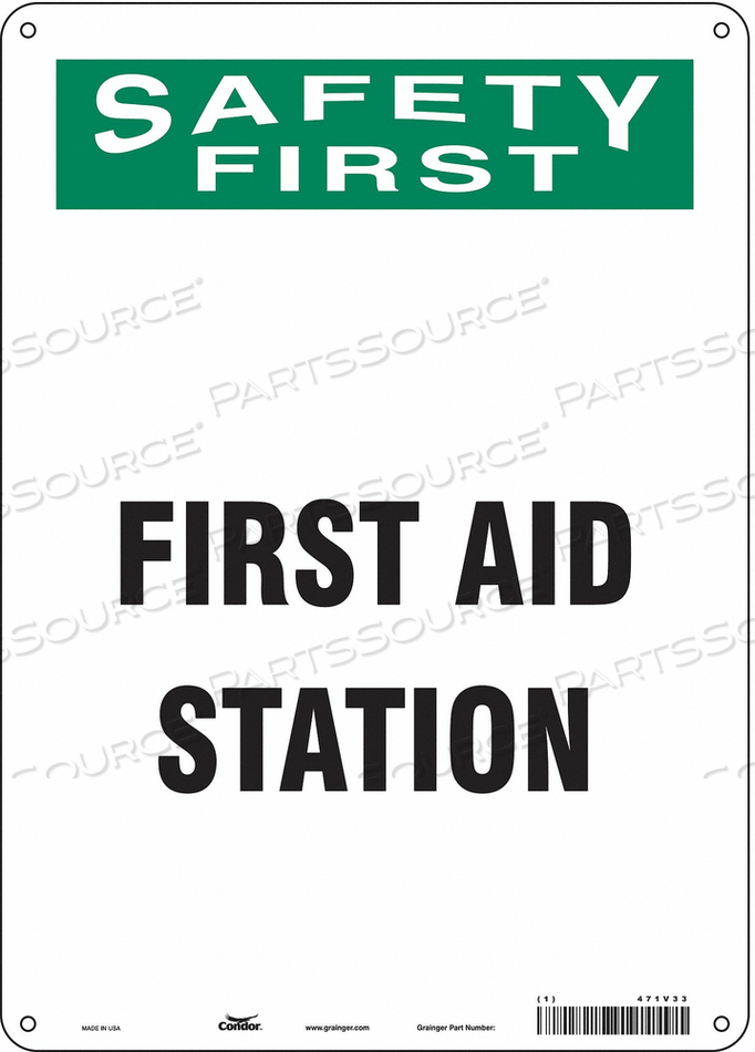 FIRST AID SIGN 10 WX14 H 0.032 THICK by Condor