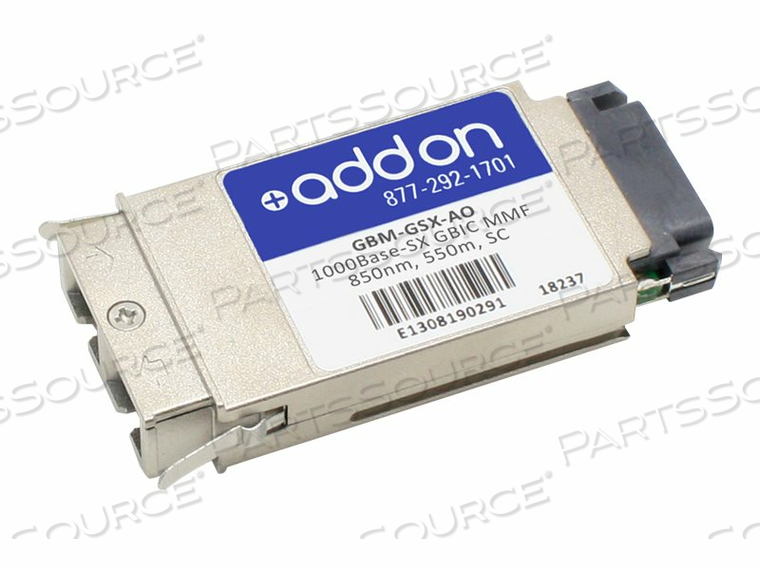 ADDON - GBIC TRANSCEIVER MODULE (EQUIVALENT TO: AMER NETWORKS GBM-GSX) - GIGE - 1000BASE-SX - SC MULTI-MODE - UP TO 1800 FT - 850 NM