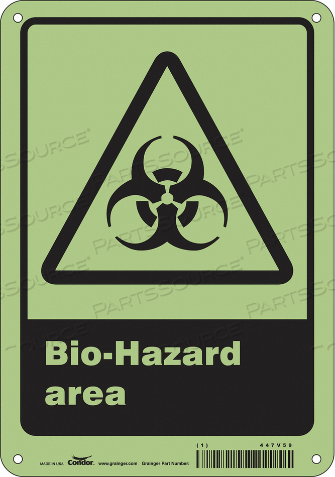 BIOHAZARD SIGN 7 W 10 H 0.070 THICK by Condor