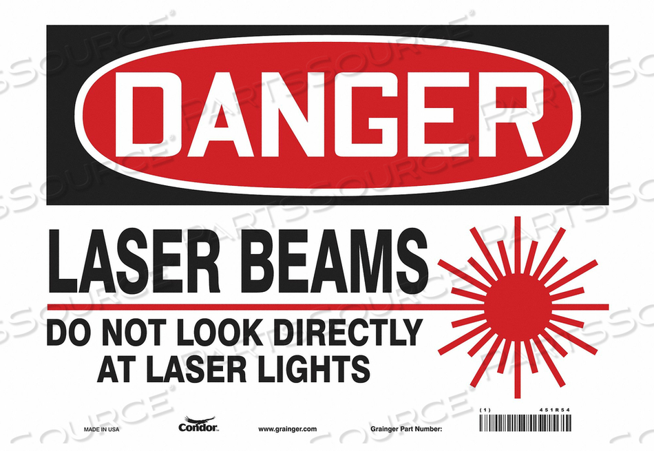 LASER WARNING 14 W 10 H 0.004 THICK by Condor