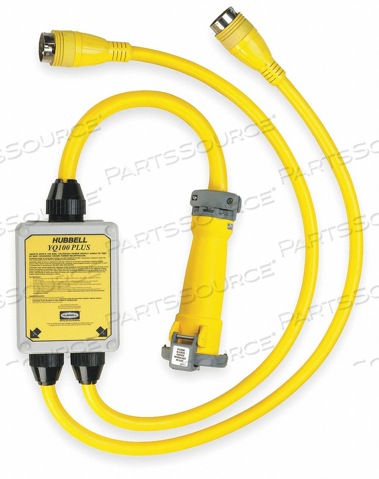 CORD ADAPTER, 9 FT, 100 A, 125/250 VAC, 6 AND 2 AWG, (2) 50A 125/250V LOCKING TO (2) 50A 125/250V OR (1) 50A 125/250V PIN AND SLEEVE, YELLOW by Hubbell Incorporated, Wiring Device-Kellums