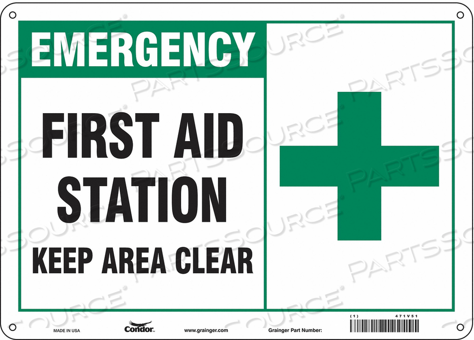 FIRST AID SIGN 14 WX10 H 0.060 THICK by Condor