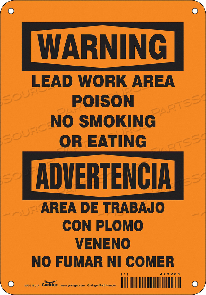 NO SMOKING SIGN 7 WX10 H 0.032 THICK by Condor