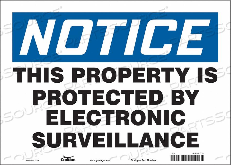 SECURITY SIGN 10 H 14 W VINYL by Condor
