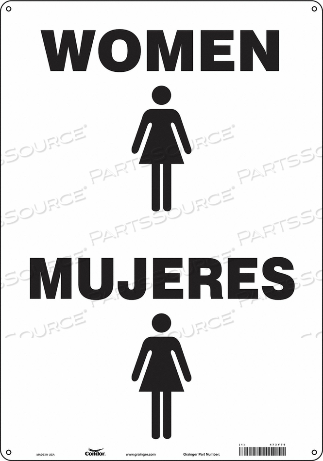 RESTROOM SIGN 14 W 20 H 0.032 THICK by Condor
