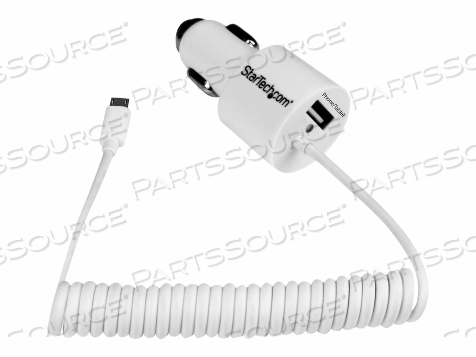 STARTECH.COM 2 PORT CAR CHARGER W/ MICRO USB CABLE & USB 2.0 PORT 21W/4.2A - POWER ADAPTER - CAR - 21 WATT - 4.2 A - 2 OUTPUT CONNECTORS ( USB, 5 PIN MICRO-USB TYPE B (POWER ONLY) ) - ON CABLE: MICRO-USB by StarTech.com Ltd.