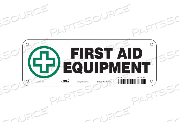 FIRST AID SIGN 10 WX3-1/2 H 0.032 THICK by Condor