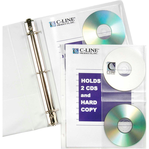 CD/DOCUMENT RING BINDER PAGES, 10 BINDER PAGES/PACK, 24 PACKS/SET by C-Line