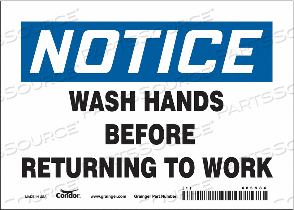 J7172 SAFETY SIGN 7 WX5 H 0.004 THICK by Condor