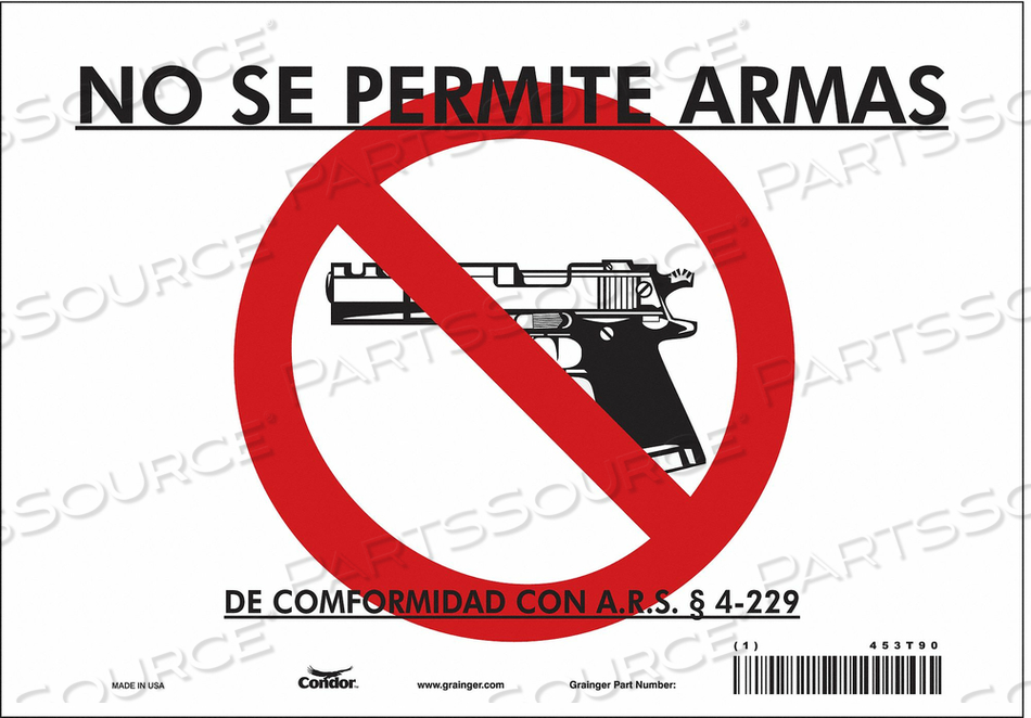 NO CONCEALED WEAPONS SIGN 10 W 7 H by Condor